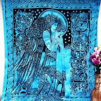 Eve Angel Blue Large Tapestry Wall Hanging Bedspread Dorm Decor