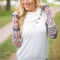 Printed Sleeve Collar Sweater Jacket in Black or White