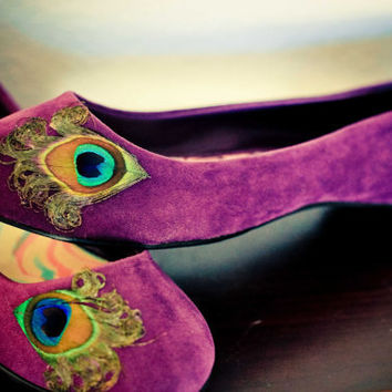 Purple  Peacock Flats  Size 75 by LaPlumeEthere on Etsy