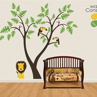 """Baby Nursery Wall Decals - Tree Wall Decal - Lion and Toucan Decal - Large: approx 78"""" x 81"""" - K028"""