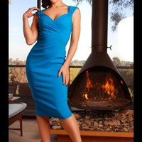 Erin Wiggle Dress in Turquoise Stretch Bengaline from Pinup Couture | Pinup Girl Clothing