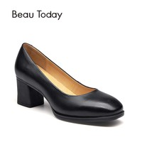 BeauToday Women Pumps Genuine Cow Leather Slip On Square Toe High Heel Handmade Office Ladies Dress Brand Boat Shoes 15024