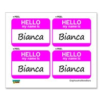Bianca Hello My Name Is - Sheet of 4 Stickers