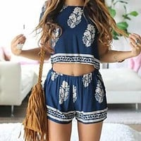 CUTE BLUE FLOWER TWO PIECE ROMPER