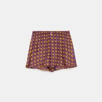 CHECKED SILK SHORTS DETAILS