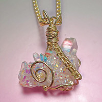 Angel Aura Wire Wrapped Cluster Quartz
