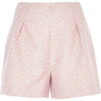 River Island Womens Light pink daisy jacquard high waisted shorts