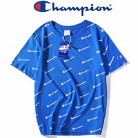 Champion 2018 Summer Tide brand classic letter printed round neck T-shirt F0340-1 blue