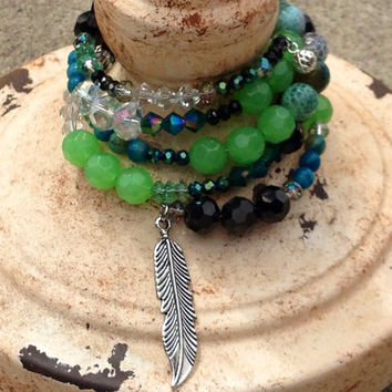 Beaded Memory Wire Wrap Bracelet, Feather Charm