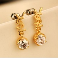 YSL Stylish Women Letter Diamond Earrings I12874-1