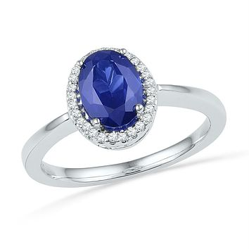 Sterling Silver Women's Oval Lab-Created Blue Sapphire Solitaire Diamond Ring 1-1/4 Cttw - FREE Shipping (US/CAN)