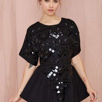 Nasty Gal Short Work Sequin Dress - Black