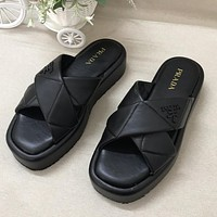 Prada new cross leather solid color sandals ladies casual slippers Shoes