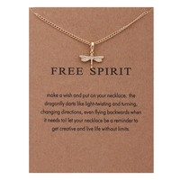 Tiny Dragonfly Card Alloy Clavicle Pendant Necklace   171212