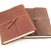 Wordsmith Genuine Leather Writing Notebook with Lined Pages - Handmade in the USA - Saddle Brown