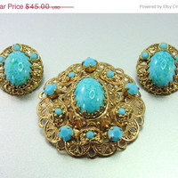 20% OFF - HUGE SALE Vintage West Germany Brooch & Earrings with Blue Turquoise Art Glass. Unique. Jewelry Fashion(Sale)