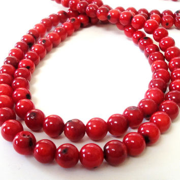 Red Coral Sea Round Beads, 8mm Full Strand, Red Bamboo Coral Round Ball Beads,  Christmas Jewelry Project