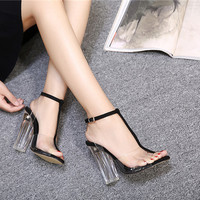 HOT !!!Transparent High Heels Gladiator Sandals