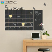 Free Shipping DIY Vinyl Chalkboard Wall Calendar 6 Cute Birds Blackboard Wall Stickers Wallpaper Poster Art Decal Room Decor