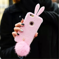 For iPhone 6 Case Lovely Girl Ears Rabbit Bunny Fur Tail Soft Cell Phone Cases for Coque iPhone 6 Case Luxury Brand Coque 5 5S