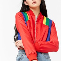 Cropped Colorblock Bomber Jacket