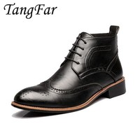 Men Ankle Boots 2017 New Mens Leather Brogue Shoes Fretwork Fashion Male Safety Boat Shoes Pointed Toe Man Waterproof Boot