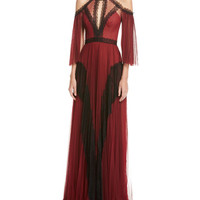 Marchesa Notte Cold-Shoulder Pleated Tulle Gown