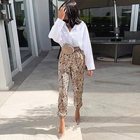 New Women Animal Pattern Trouser Casual Snake Skin Printed Harem Pants Elastic pleated female casual ankle length trousers
