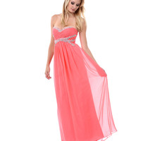 2014 Prom Dresses - Coral Ruched Sweetheart Beaded Sequin & Rhinestone Strapless Long Dress - Unique Vintage - Prom dresses, retro dresses, retro swimsuits.