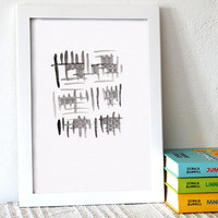 Modern wall art. Black and white contemporary watercolor painting. Abstract brush and ink pen drawing.
