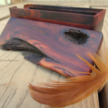 Best Man Gift Hand Tooled Live Edge Manzanita Wood Box