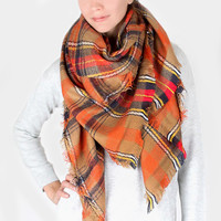 Plaid Check Knit Fringed Trim Blanket Scarf - Brown & Orange