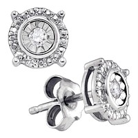 Sterling Silver Women's Round Diamond Solitaire Circle Frame Stud Earrings 1-10 Cttw - FREE Shipping (USA/CAN)