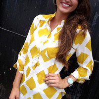 Golden Checkered Pattern Tunic   The Rage
