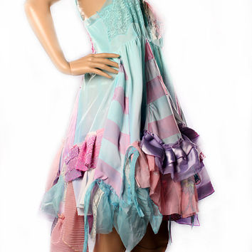 Vintage Ombre Dress, pink blue purple, Fairy Princess Bride Wedding Gown. Upcycle Gothic Lolita tattered Ruffles stripes Sundress
