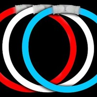 Fun Central B567 8 Inch Glow in the Dark Bracelets - Assorted Red-White-Blue 50ct