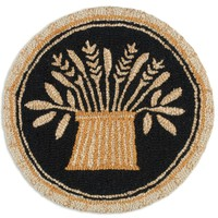 """Buttermold Hooked Wool Chairpad 14"""" in diameter"""