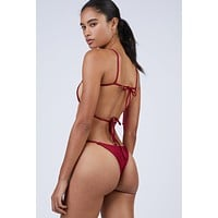 Maya Thin Strap Thong Bikini Bottom - Shanghai Red