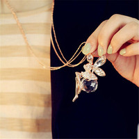 Pretty Fashion Crystal Angel Wings Long Chain Necklace Butterfly Fairy Sweater Necklace Jewelry Women Free Shipping