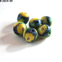 Yellow Flower Beads, Polymer Clay, Blue Round, Jewelry Supplies, Beads