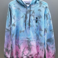 Cotton Candy Ombre Tie Dye Hoodie, Dip Dyed, Adult, Unisex, Size Medium, Women's, Men's, Girl's, Boy's, Festival Shirt, OOTD, Casual Wear