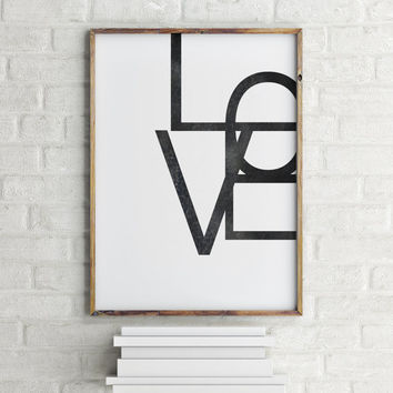 """Inspirational poster """"LOVE"""" Typographic print Wall artwork Home decor Room poster Motivational quote Printable poster Gift idea"""