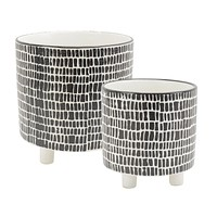 """S/2 Geo Design Footed Planters, Black/White 9/6"""""""