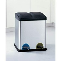 2 compartment stainless steel recycle trash can multiple bins and step-on opening lids
