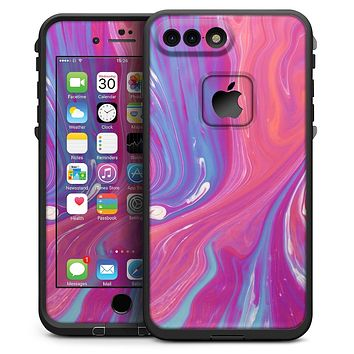 Marbleized Pink and Blue v391 - iPhone 7 Plus LifeProof Fre Case Skin Kit