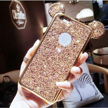 3D Mickey Mouse Glitter Case For iPhone 6 Case Cover luxury Silicone TPU Phone Cases For iPhone 7 8 6 6S Back Cover Coque