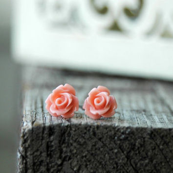 Peach Rose Earrings . Rose Stud Earrings . Peach Bridesmaid Jewelry . Flower Girl Gift . Affordable Bridesmaid Gifts . Surgical Steel Posts