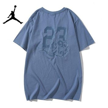 Jordan New fashion embroidery letter people couple top t-shirt  Blue