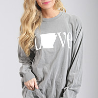 charlie southern: classic state love long sleeve - Arkansas [grey]