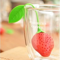 Leegoal Super Cute Fantastic Strawberry Design Silicone Tea Infuser Strainer Teapot Teacup (Red)
